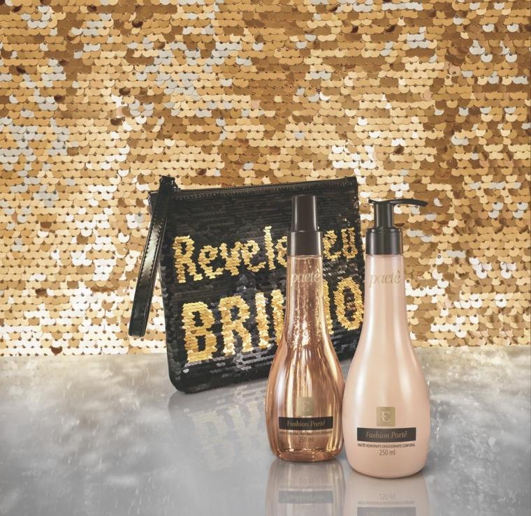 Fashion Paetê Eudora Loção Hidratante Spray Corporal Perfumado Clutch Paetê Revele Seu Brilho