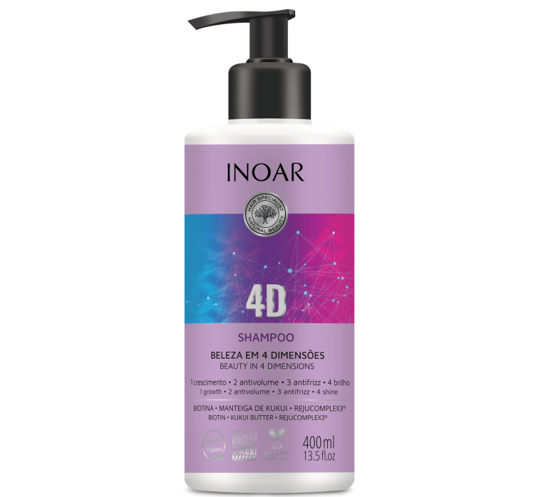 Shampoo Linha 4D da Inoar Cosméticos