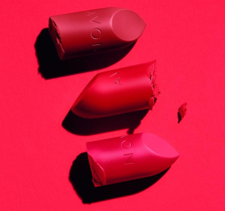 Avon Batom Ultramatte Pêssego Suculento, Febre Coral, Vermelho Mais Vermelho
